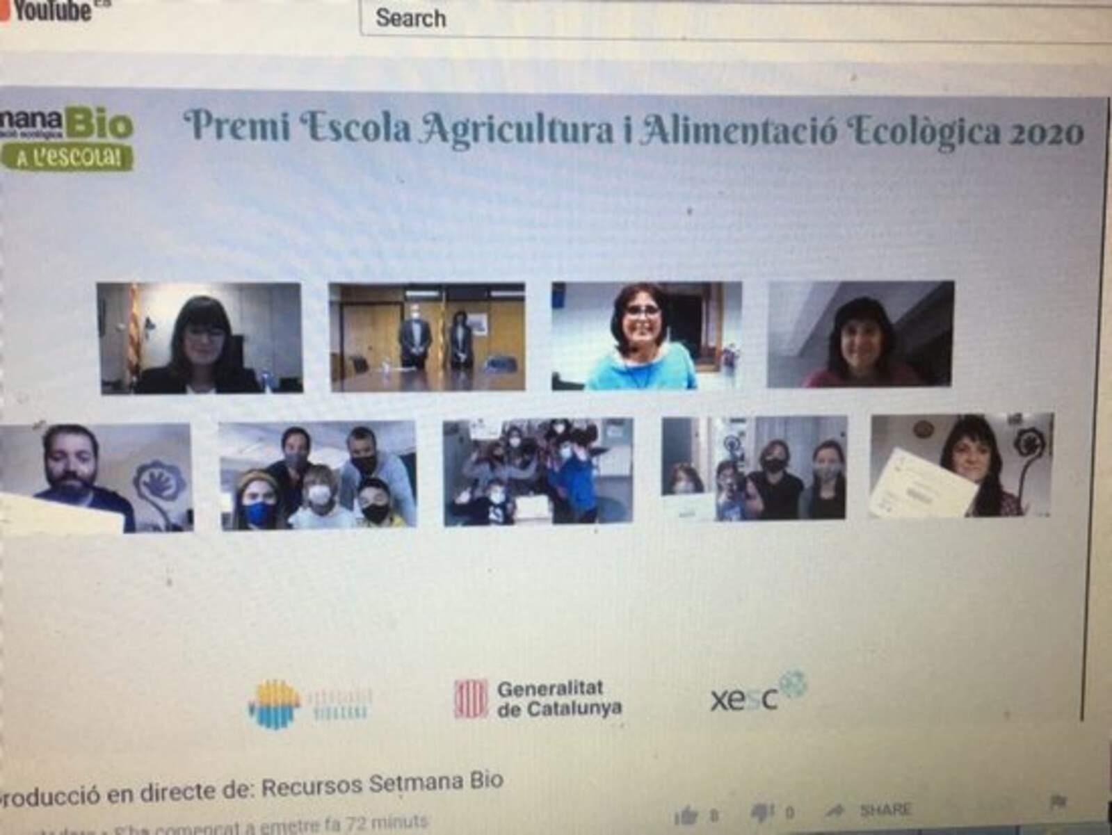 Foto virtual dels guanyadors de la 8a edició del Premi Escola Agricultura i Alimentació Ecològica