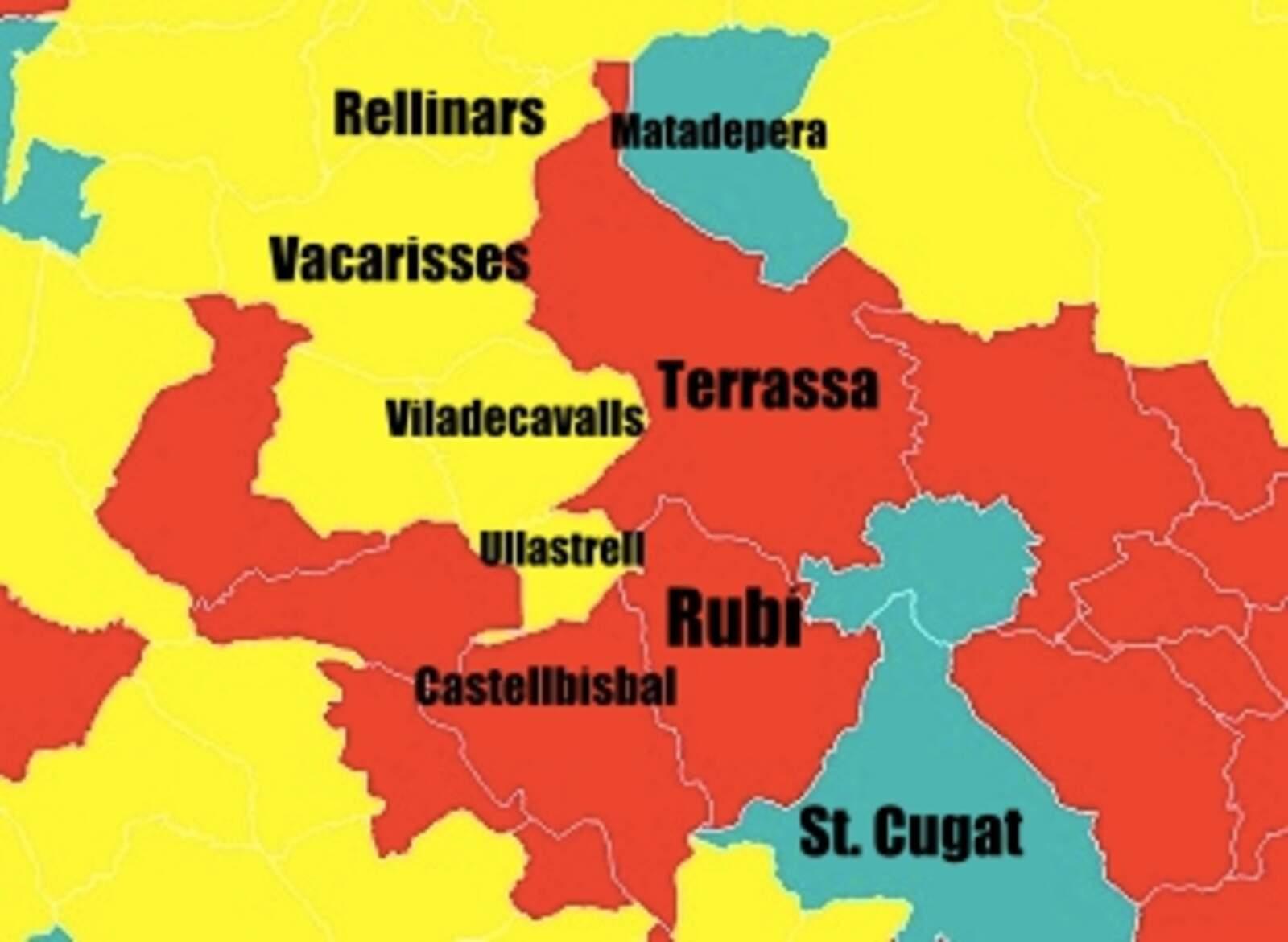 Mapa de la comarca amb els colors del partit guanyador