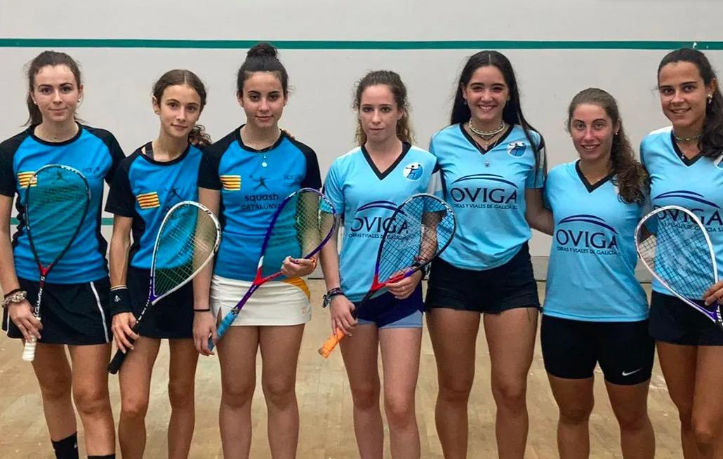 Final del Campionat d'Espanya entre la selecció catalana (esquerra) i la gallega   Federació Catalana d'Esquaix
